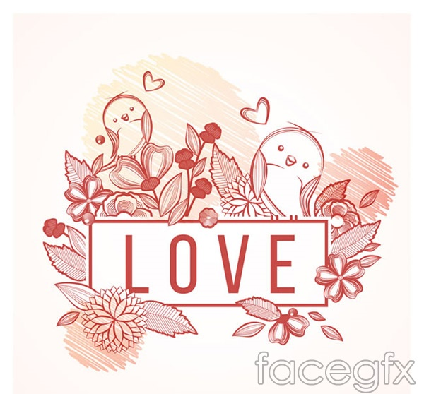 Painting of flowers and birds vector