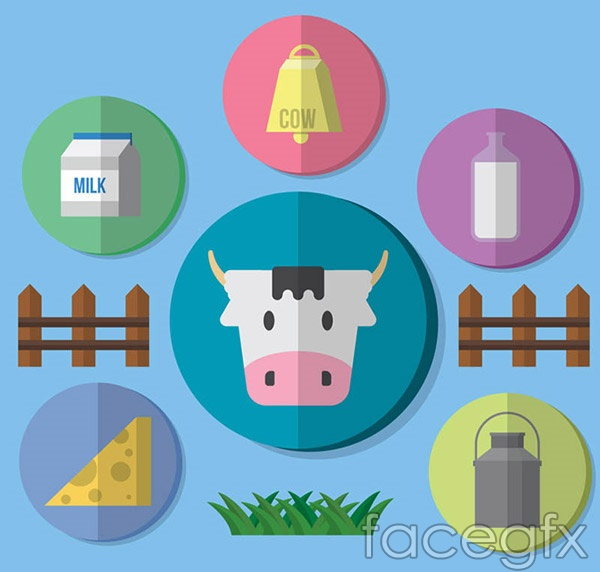 Pasture cow icon vector