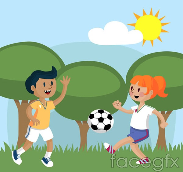 Soccer kids vector
