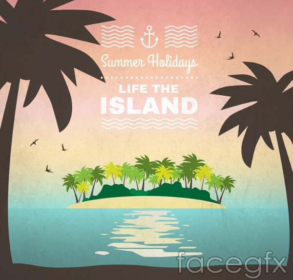 Summer coconut island vector