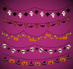 Halloween decorative flags vector