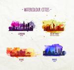 Watercolor city vector