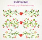 Watercolor Valentine flowers vector