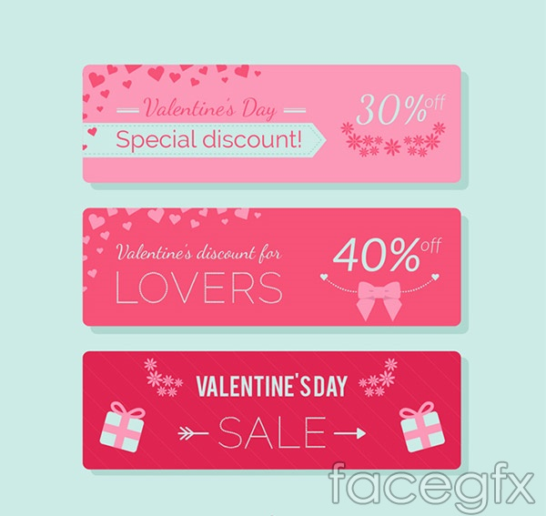 Valentine's day discount banne vector