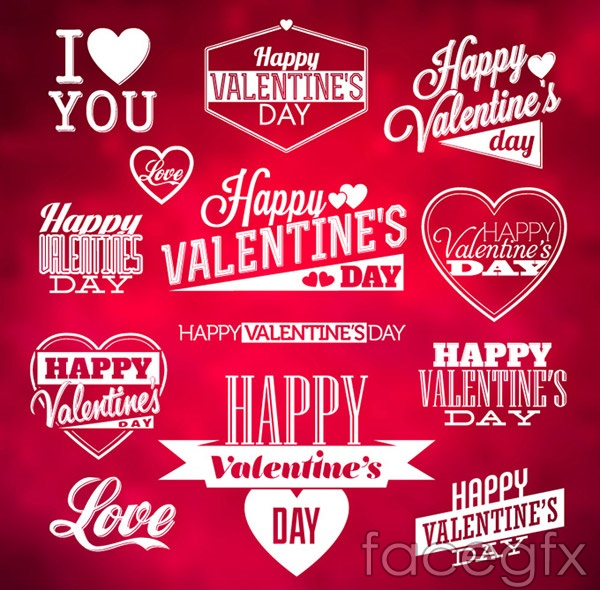 Valentine's day word art label vector