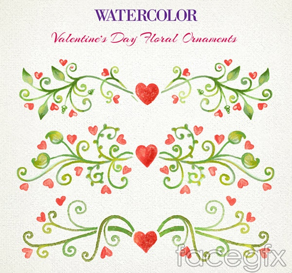 Watercolor Valentine flowers vector
