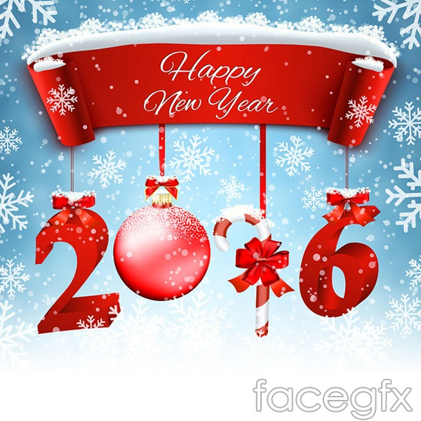 2016 with Christmas elements vector