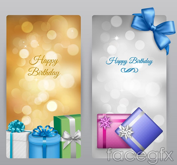 Birthday gift box banner vector