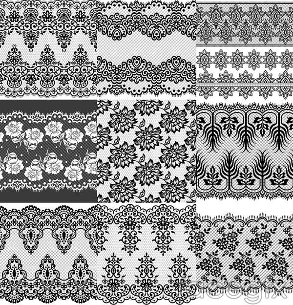 European-style black and white background vector