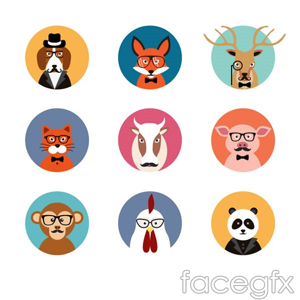 Fashion animal avatars vector