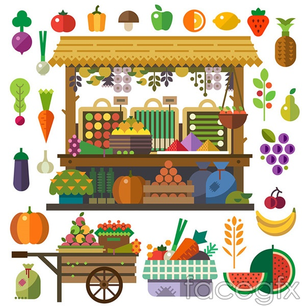Flat fruit stand vector