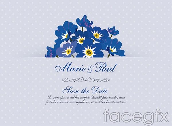 Forget me not wedding invitation cards vector