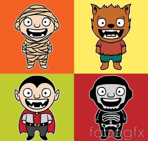 Laughing Halloween characters vector