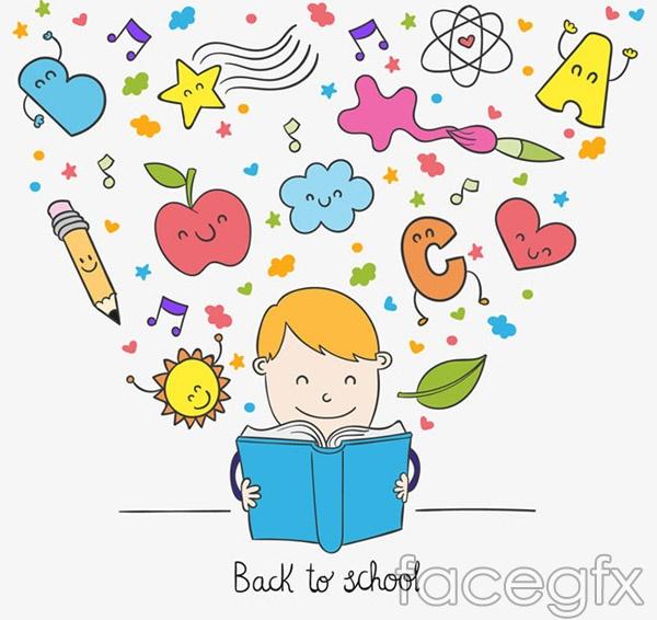 Reading boy element vector