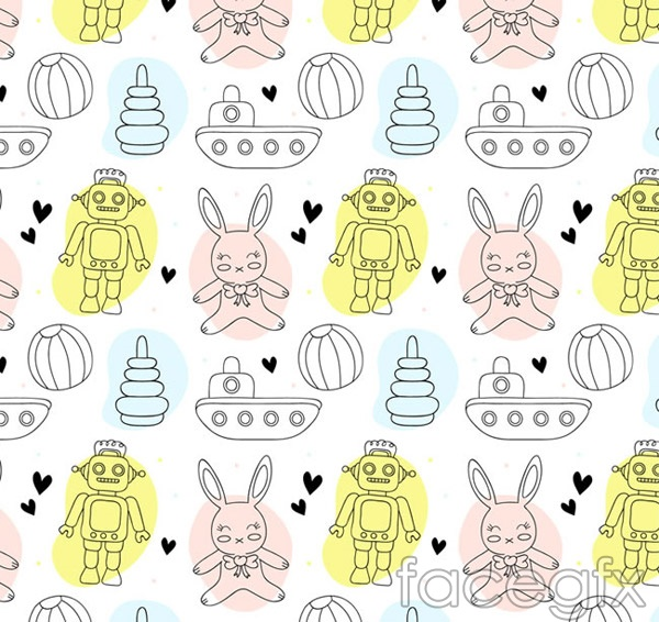 Robots and rabbit background vector