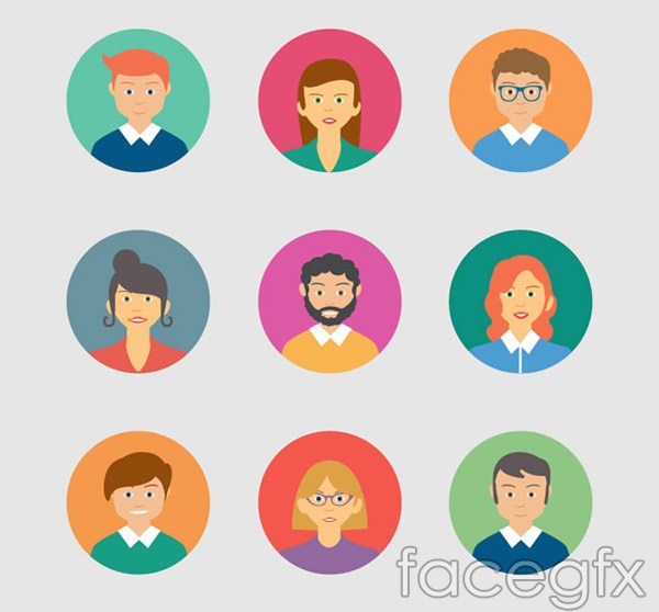 Round character avatar icons vector
