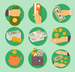 Currency transaction icons vector