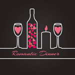 Romantic dinner vector illustration