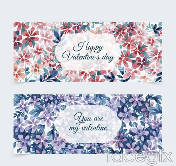 Valentine's day flower banne vector