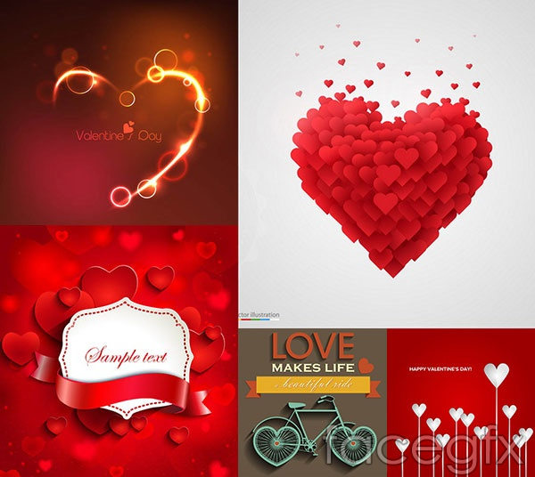 Valentine's day light effects theme vector