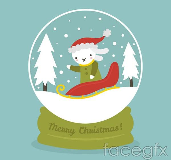 White Rabbit snow globe vector