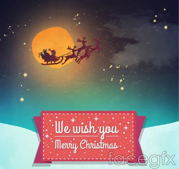Snowmobile Christmas card vector