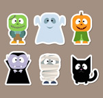 Halloween character stickers vector