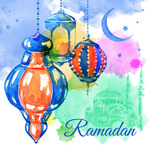 Water color painting of Ramadan greeting cards vector