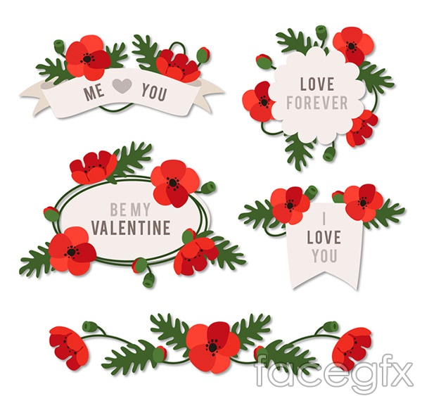 ValentineS Day Flower Label Vector  Free Download